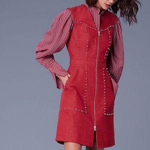 Diane Von Furstenberg zip front red denim dress